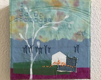 Sweet Scatterings art quilt collage embroidery landscape
