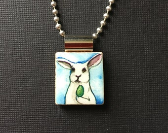 Bunny jewelry, rabbit jewelry, Easter gift, handmade Easter gift, bunny pendant, bunny necklace, recycled scrabble tile jewelry, watercolor