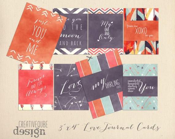 "3"" x 4"" Digital Love Quotes Printable Journaling cards for Scrapbook, blogs, invitations, wedding photos"