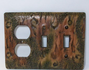 Bark of a tree double toggle light switch cover and outlet, wood look decorative cover
