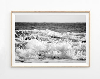 Black and White Ocean Photography Wall Art Printable, Ocean Print Download, Ocean Photo Ocean Poster Scandiavian Minimalist Art Print ocbwl
