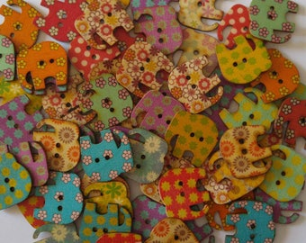 4 Wooden Elephant Buttons, Multi Color Buttons - #SB-00381