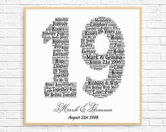 Personalized 13th anniversary gift word art printable art personalized 19th anniversary gift word art printable art unique anniversary gift 19 negle Image collections