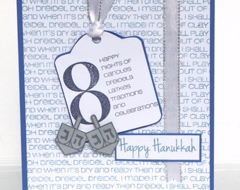 Happy Hanukkah Greeting Card - Handmade Paper Card with Coordinating Embellished Envelope