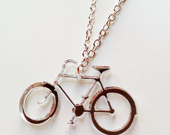 Bike | Bicycle | Cute | Cycling | Mirrored | Silver | Laser Cut | Acrylic | Necklace