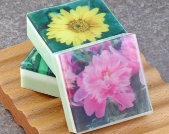 In the Floral Garden Series - Set II Graphic Art Soap - Set of 3 Guest Size Square Soaps
