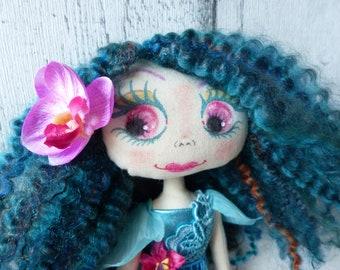 Cassandre poupée de chiffon (rag doll, handmade doll, ooak doll,art doll)