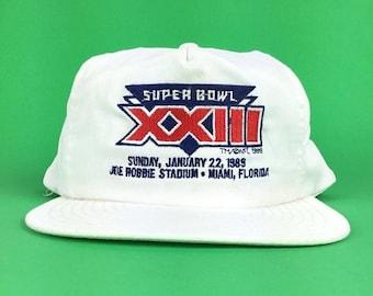 On Sale Now Vintage 80s NFL Super Bowl XXIIIJoe Robbie Stadium Miami Florida ANNCO Brand Embroidered White Baseball Cap Hat SnapBack Adult S
