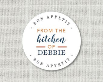 From the Kitchen of Stickers Personalized Food Labels, Bon Appetit Gift Stickers, Favor Labels, Baked Good Stickers