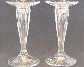 Pair of Vintage Mikasa Lead Crystal Candlesticks