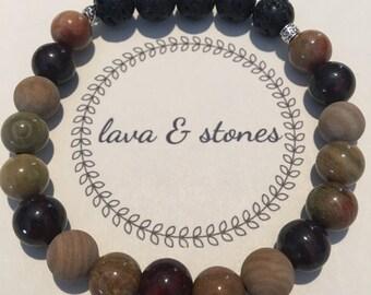 Lava Bead and Stone Bracelet