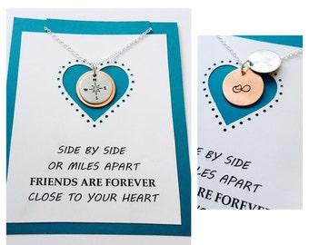 Best Friends Necklace, Friends Jewelry, Friends Necklace, Necklace with quote, Hand Stamped Friends Necklace, Infinity Necklace