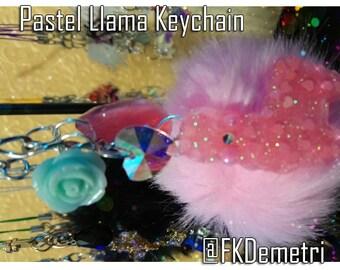 Pastel Llama Resin Keychain