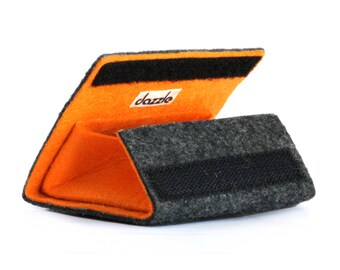 Coin and Card Felt Wallet-Handmade Orange Felt and Gray Carpet with Velcro Wallet-Very Resistant-Original Gift