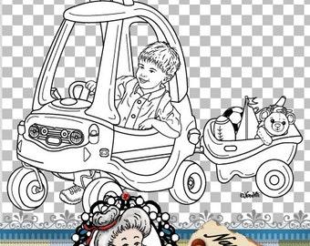 Cosy Trike Bike Boy Digital Stamp Digi Instant Download ID:NV-DS0077 By Nana Vic
