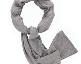 Beat Hot Flashes in Style! Nano-Ice Cooling Necklace - Scarf style - Grey - COOLING BALLS INCLUDED!