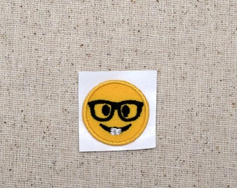SMALL - Smiley Face - Nerd with Glasses - Emoji - Iron on Applique - Embroidered Patch - 697121-SA