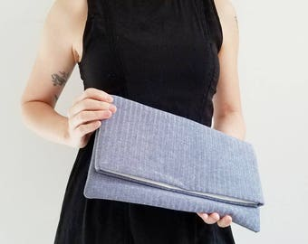 Chambray Foldover Clutch - Foldover Clutch - Chambray Clutch - Gift for her - Fold Over Bag - Herringbone Purse - Herringbone Chambray