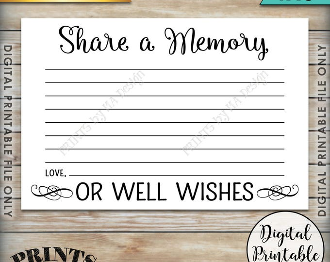 "Share a Memory Card, Share a Memory or Well Wishes Card, Retirement, Graduation, Going Away Party, Birthday, 4x6"" Printable Instant Download"