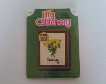 Vintage 1973 Caraway Jiffy Stitchery Embroidery Kit