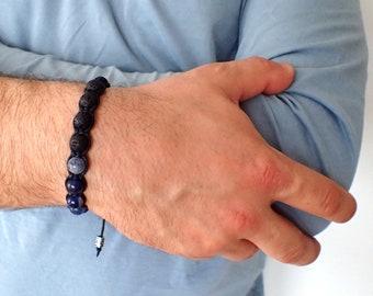 Sodalite bracelet, Lava bracelet, Mens bracelet, Black lava men, sodalite men, black lava bracelet, beaded bracelet men, healing bracelet