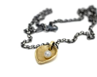 """18K gold chunky heart/leaf necklace on oxidized silver cable chain """"the offering"""""""