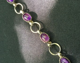 "Amethyst Bracelet with 925 Sterling Silver Jewelry 6,5"" Vintage"
