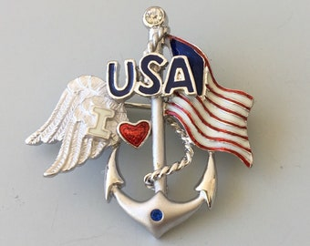 Red White Blue Patriotic American Flag with anchor Brooch .