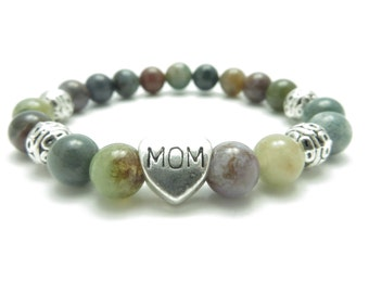 Mom Mala Bracelet Yoga Jewelry Healing Protection Bohemian Mom Heart Beaded Bracelet Spiritual Jewelry Mothere's Day Unique Gift For Her