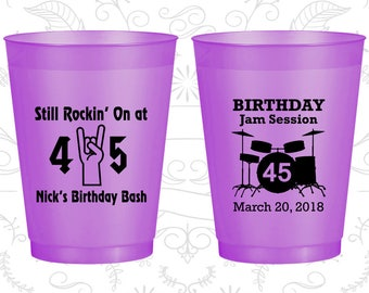45th Birthday Frosted Cups, Still Rockin at 45, Birthday Jam Session, Frosted Birthday Cups (20069)