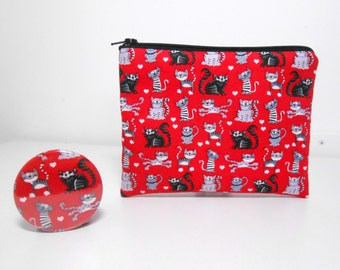 Cat Coin Purse and Pocket Mirror, Tiny Cats Change Purse with Pocket Mirror Padded Zipper Pouch