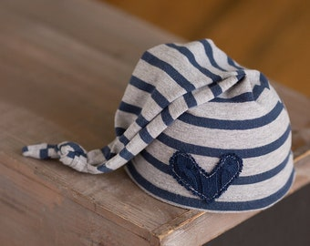 Newborn Boy Hat, Newborn Hat, Blue and Grey Striped Hat, Newborn Photography Prop, Newborn Stocking Cap, Baby Boy Hat, Photo Prop, Boy Hats