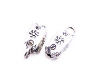 Thai Karen Hill Tribe Silver,Puffed Rectangular Shaped Karen Hill Tribe Handmade Charms,Charms,Karen Silver- KSC0066
