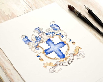 "Custom Family Crest - Hand Drawn Heraldry from existing illustration or research -  small 5"" by 7"" - coat of arms art for a unique gift"