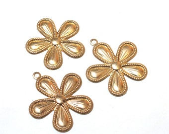 Raw Brass Flower Charms - 24mm - 3 pieces - Large Stamping