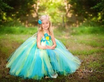 Turquiose and Yellow Flower Girl Tutu Dress