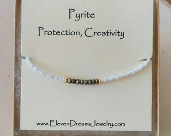 Pyrite and White Seed Bead Meaning Bracelet. Gold. Gift. Meaningful. Spiritual. Dainty. Minimalist. Bridesmaid. carded Personalize