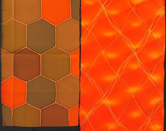 SALE! Vintage kimono silk fabric 2 pcs #7450