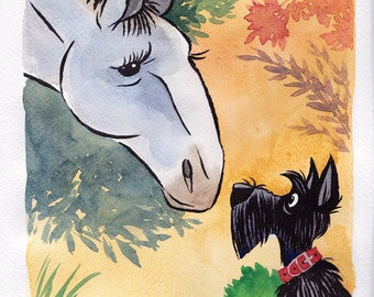 Scottie and the horse original watercolour painting