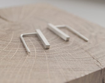 Delicate Bar Thread Earrings // silver bar Minimalist Earrings // Simple earrings //