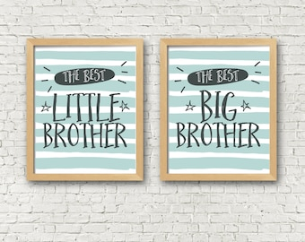 Brothers Wall Art Print Set of 2 - Big brother Little brother set of 2 art prints - 8x10 printables - boys room decor - brothers room decor