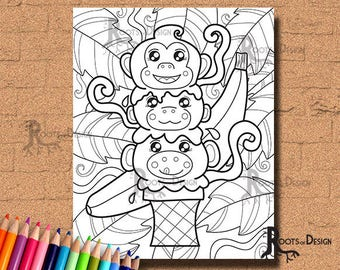 INSTANT DOWNLOAD Monkey Ice Cream Coloring Print, doodle art, printable