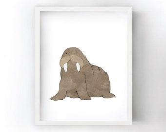 Walrus Nursery Art Print - Arctic Animal Art for Kids Room