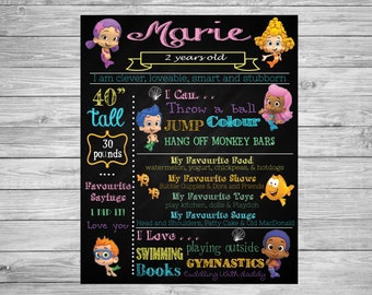 Bubble Guppies, Bubble Guppies Party Decorations, Bubble Guppies Party, Bubble Guppies Birthday, Bubble Guppies Chalkboard, 2nd Birthday