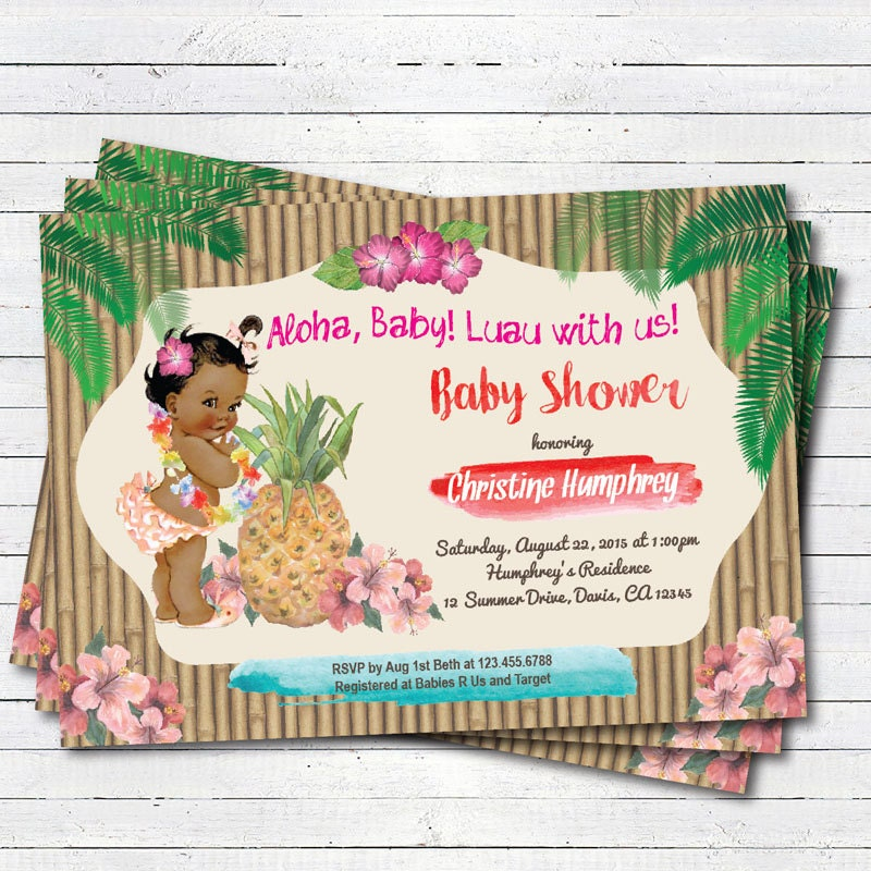 Luau baby girl shower invitation. hawaiian vintage african