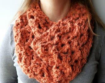 Ready to Ship Crochet Pumpkin Cowl|Loop Scarf|Neckwarmers|Neck Warmer|Chunky Cow|Crochet Cowl|Circle Scarf|Alpaca Yarn|Infinity Scarf