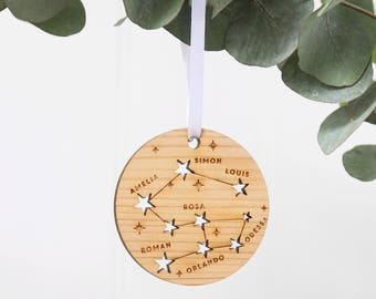 Family Constellation Christmas Tree Decoration Ornament|Special family Christmas stars|Family tree|personalised xmas bauble|cedar wood