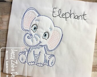 Baby Elephant color work embroidery design - elephant embroidery design - baby embroidery design - vintage embroidery design - circus