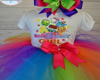 Shopkins Birthday Girl Outfit,FREE SHIPPING,shopkins cart tutu set,birthday,shopkins birthday,birthday girl,birthday outfit,colorful outfit