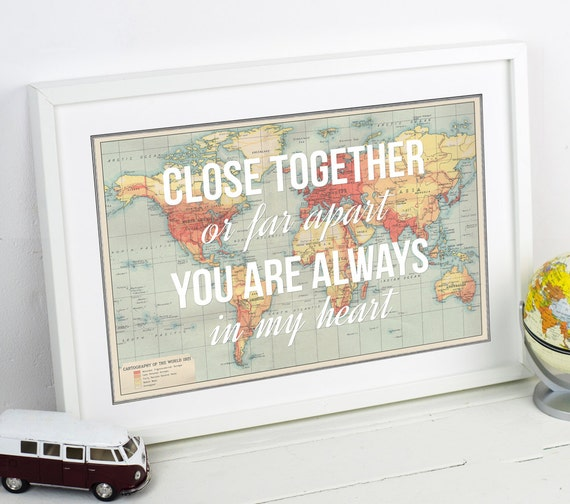 Long distance love quote world map print poster map of the like this item gumiabroncs Image collections